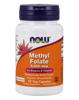 Methyl Folate 5000 mcg 50 Veg Capsules NOW Foods