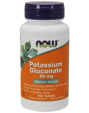 Potassium Gluconate 99 mg 100 Tablets NOW Foods