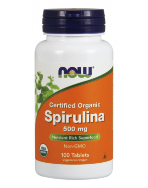 Spirulina 500 mg 100 Tablets, Certified Organic NOW Foods