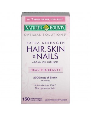 Hair Skin Nails Extra Strength -150 Softgels NATURES Bounty Optimal Solutios
