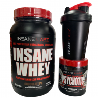 Whey Protein Chocolate Peanut Butter + Psychotic Red + coqueteleira